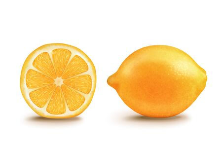 Half and whole yellow lemon in 3d illustration on white background  イラスト・ベクター素材