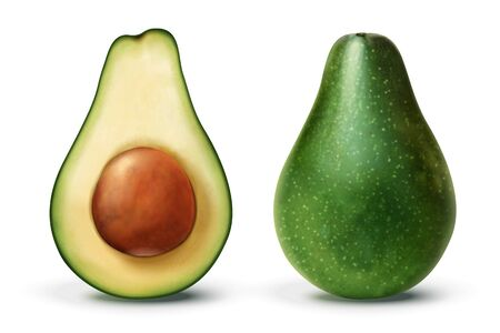 Half and whole healthy avocado in 3d illustration on white background