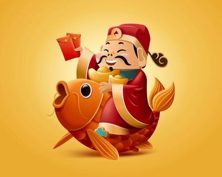 God of wealth rides on lucky carp and holds red packet illustration Illusztráció