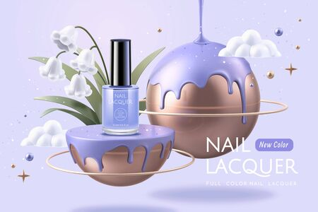 Purple nail lacquer on lovely planet with white lily of the valley