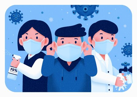 People fight for health with wearing face mask, washing hands and using sanitizer Vektorgrafik