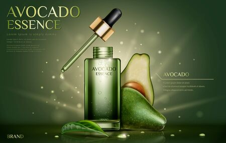 Avocado essence oil ads with fresh ingredients on glittering Vettoriali