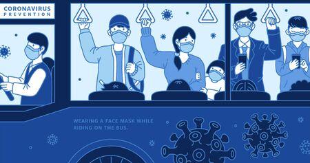 Porter un masque facial lors de la conduite dans le bus, lutter contre le coronavirus en ligne Vecteurs