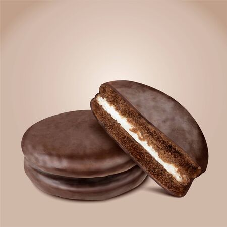 Isolated choco pie with half section in 3d illustration