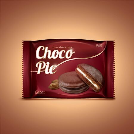 Choco pie foil package in 3d illustration isolated on brown background