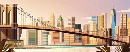 Brooklyn bridge and Manhattan skyline in flat style, New York City scene
