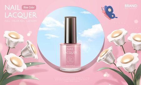Pink nail lacquer ads on hollow round window with white 3d flowers decorations