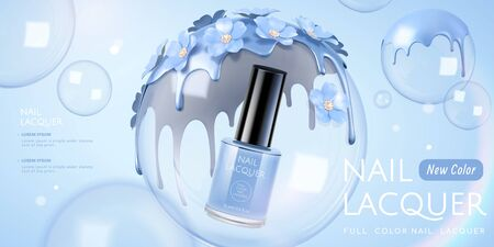 Light violet tone nail lacquer floating in the transparent bubbles with flowers and liquid on it, 3d illustration product ads