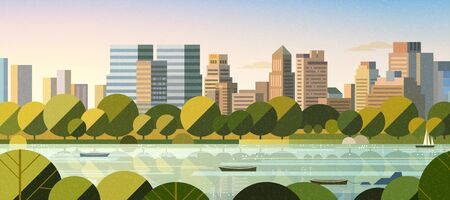 Hudson river water front with greenish tree in flat style, New York City scene