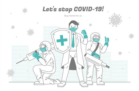 Medical workers fight the coronavirus bravely for all people and people should support them back by staying home safely Ilustrace