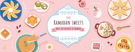 Lovely ten Middle Eastern Ramadan desserts on pink banner in top view angle for iftar, snack names written beside dishes  イラスト・ベクター素材