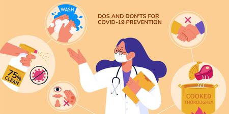 Professional doctor demoing dos and don'ts of avoiding coronavirus transmission during COVID-19 pandemic, in flat design Vector Illustratie
