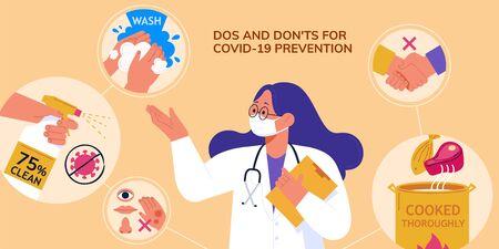 Professional doctor demoing dos and don'ts of avoiding coronavirus transmission during COVID-19 pandemic, in flat design Ilustração Vetorial
