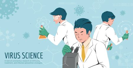 Three hardworking medical scientists trying to find the vaccine and treatment for COVID-19, design in flat style