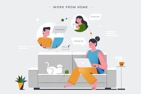 A stylish woman with laptop comfortably working at home and having an online conference with her colleagues