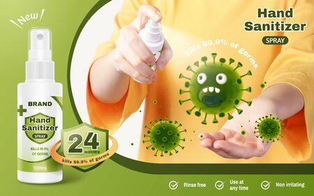 Modèle d'annonce de spray désinfectant pour les mains, jeune femme réaliste se désinfecte les mains avec un spray de lavage des mains pour prévenir les maladies, illustration 3d