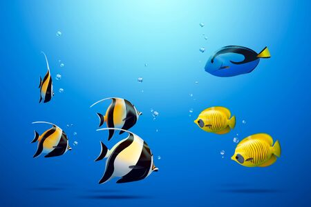 Three tropical fish including zanclus, bluecheek butterflyfish and blue tang under the sea in 3d illustration Ilustração