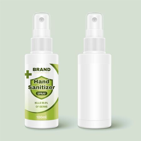 3d illustration of hand sanitizer spray bottles, one with designed label and one without, isolated on light green background