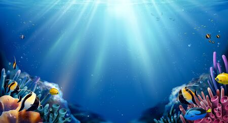 Beautiful coral reefs and tropical fish undersea landscape with sunlight through the ocean, 3d illustration
