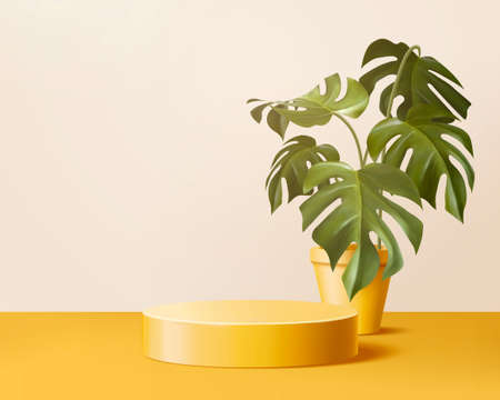 Product display podium decorated with potted monstera on trendy yellow background, 3d illustration Vektorové ilustrace