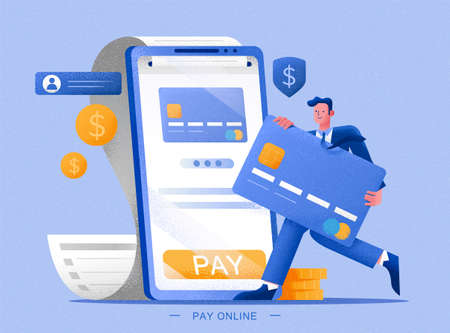 Man paying his bill online, illustration in flat style, concept of e-commerce and online payment services