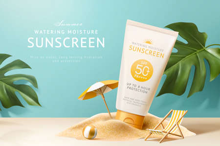 Ad template for summer products, sunscreen tube mock-up displayed on sand pile with monstera leaves, 3d illustration 向量圖像