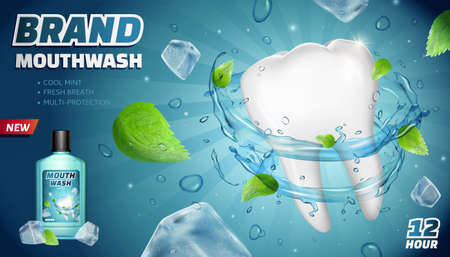 Cool mint mouthwash ads with flying mints, ice cubes and splashing water on striped background, 3d illustration