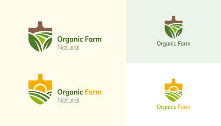 Farm landscape logo set in shovel shaped design, concept of growing organic crops and livestock, great choice for agribusiness and local farm Illustration