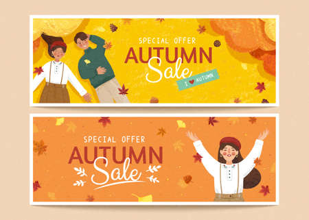 Set of cute autumn banners in retro hand drawn style, applicable to web headers and sale promotion