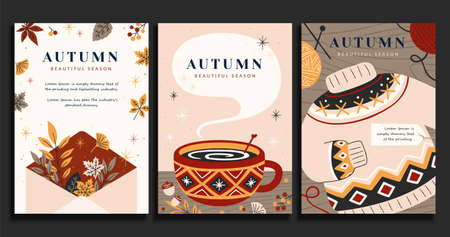 Set of autumn illustrations in trendy hand drawn style, hygge concept, applicable to card, cover and event promotion