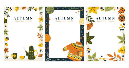 Set of autumn decorative borders in trendy hand drawn style, applicable to card, cover and invitation Illustration