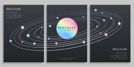 Concept of outer space and solar system, holographic design with clipping masks, cover template for brochure, flyer, and poster use
