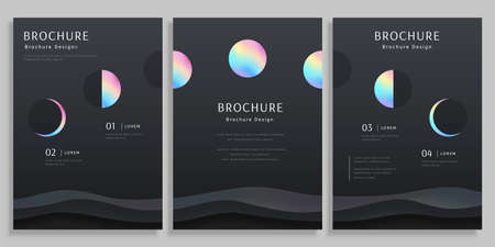 Concept of moon and lunar phase, holographic design with clipping masks, cover template for brochure, flyer, and poster use Illustration