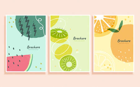 Concept of tasty fruit in abstract Memphis design, cover template for brochure, flyer, and poster use