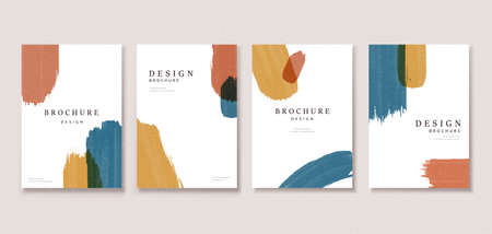 Minimal cover template design with colorful paint strokes, perfect for brochure, flyer, poster use Illustration