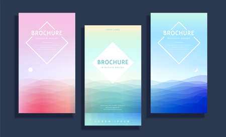 Concept of ocean scenery, cover template in pastel tone design, for brochure, flyer, and poster use Illustration
