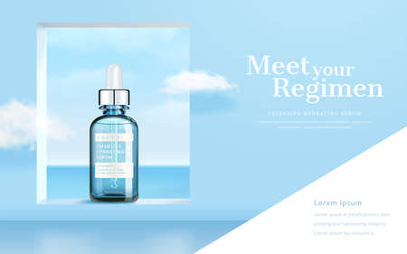 3d illustration of skincare product ad, surreal background design of sea view through window with cloud flying aside