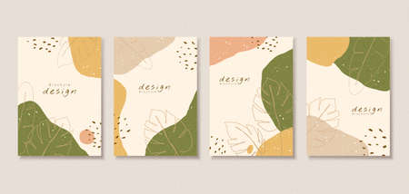 Vintage cover template design with abstract patterns and contour drawing of natural leaf, perfect for brochure, flyer, poster use