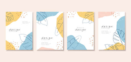 Minimal cover template design with abstract patterns and contour drawing of natural leaf, perfect for brochure, flyer, poster use