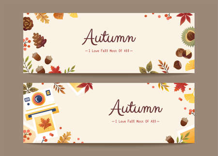 Set of minimal autumn foliage banners in flat design, applicable to web headers and sale promotion Illustration