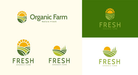 Farm landscape logo set in flat design, concept of growing organic crops and livestock, great choice for agribusiness and local farm