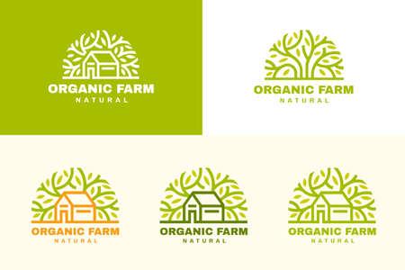 Farmhouse logo set in line art design, a good branding choice for agribusiness and local organic farm Illustration