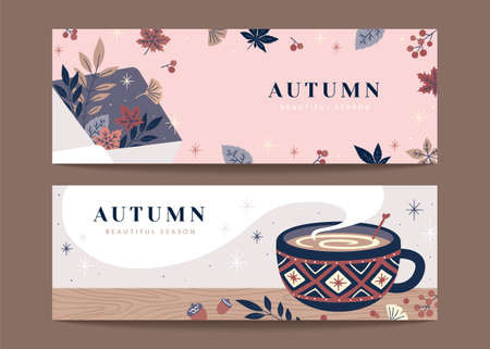 Set of autumn hygge banners in retro hand drawn style, applicable to web headers and sale promotion