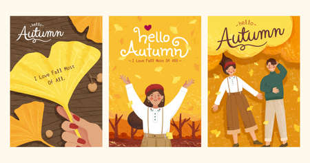 Collection of cute autumn illustrations in trendy hand drawn style, applicable to card, cover and event promotion