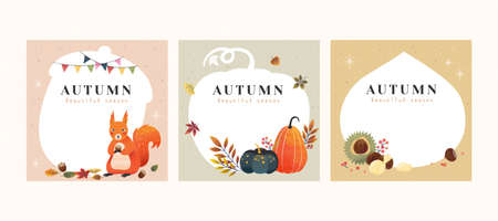 Set of autumn hand drawn illustrations with copyspace, applicable to card, cover and social media post
