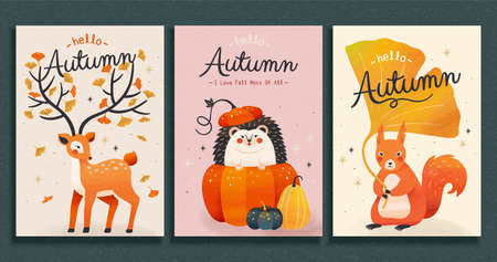 Collection of cute forest animal illustrations in trendy hand drawn style, autumn concept, applicable to card, cover and event promotion Illustration