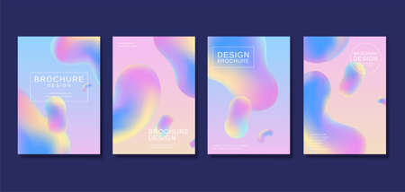 Futuristic cover template design with fluid shapes in pastel tone color, perfect for brochure, flyer and poster use