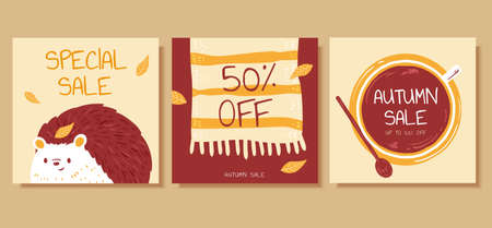 Set of cute autumn illustration in hand drawn style, concept of hygge, perfect for cover, event promotion, and greeting card Illustration