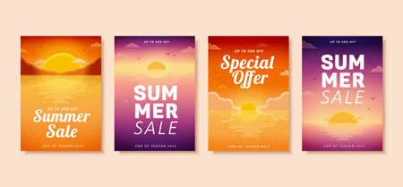 Summer sale brochure in romantic gradient design, concept of beach sunset, cover template for flyer, poster, web banner ad use