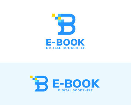 Letter B logo with blue tone square and line art design, concept of e-book, digital library and online education